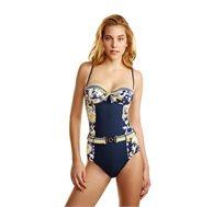 בגד ים שלם INO עם חזייה מובנת- הדפס כחול לבן צהוב