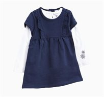 סט חולצה ושמלה לתינוקות וילדות בצבעי כחול ולבן