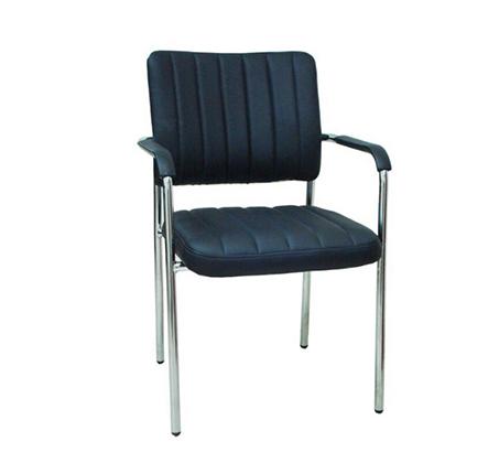 כיסא אורח בריפוד דמוי עור בשילוב ניקל דגם נגה
