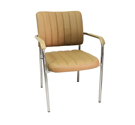 כסא מרופד לחדרי אירוח ומשרדים בריפוד דמוי עור ורגלי ניקל  - תמונה 4