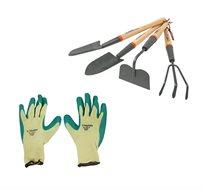 סט כלי גינה ארוך 4 יחידות הכולל זוג כפפות בד TRUPER  - משלוח חינם!