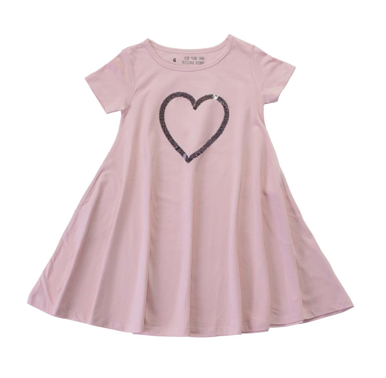 שמלה מסתובבת לב פייטים - ורוד