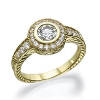 טבעת אירוסין בעיצוב עתיק ויוקרתי 0.81 קראט