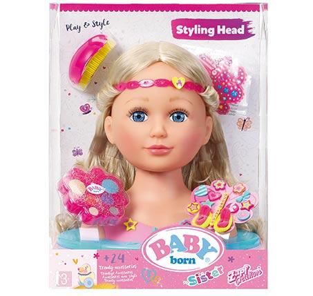 ראש בובה עם אביזרים לילדות