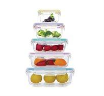 סט 5 קופסאות זכוכית מחוסמת גדלים שונים בטוחות לשימוש במיקרוגל Food Appeal