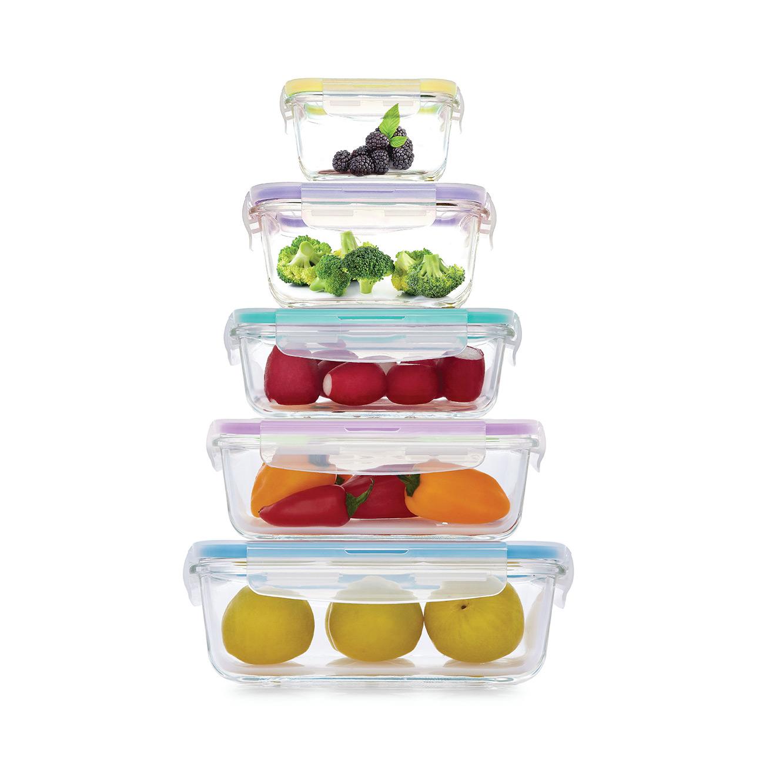 מארז 5 קופסאות אחסון מזכוכית למטבח