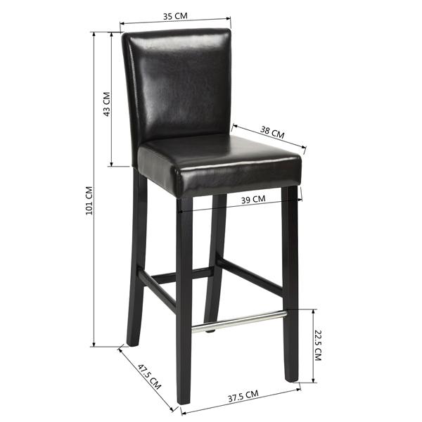 כיסא בר יוקרתי דגם נילסן בריפוד דמוי עור ורגלי עץ טבעי HOMAX - תמונה 5