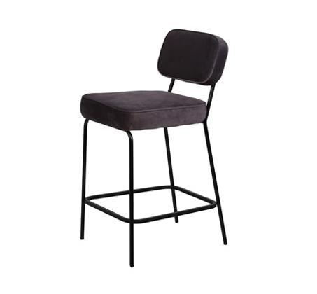 כיסא בר דגם ניקו ביתלי בעיצוב רטרו מדליק בעל רגלי מתכת חסונות וריפוד בד בצבע אפור - תמונה 2