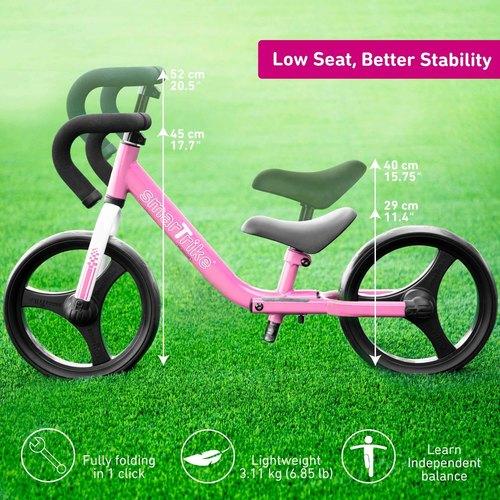 אופני איזון מתקפלים עם כיסא וכידון מתכווננים - ורוד - תמונה 4