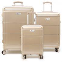 American Travel - סט 3 מזוודות קשיחות בצבע בז