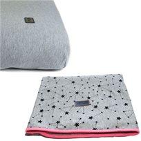 Baby Mitmit סט קייצי למיטת תינוק - שמיכה וסדין אפור ורוד - Galaxy Collection