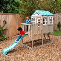 בית עץ 2 קומות לילדים עם מגלשה - מצודת הגבהים