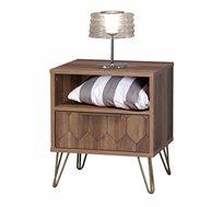 שידת צד מעוצבת בסיגנון מודרני לחדר שינה או לסלון כוללת מגירה ותא אחסון