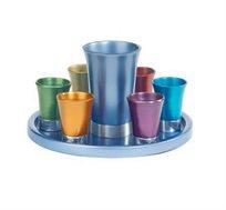 סט קידוש כולל כוס, צלחת ו-6 כוסיות  אנודיז צבעוני בעבודת יד