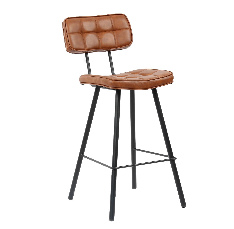 כסא בר מרופד בעיצוב מודרני לפינת האוכל בעל רגלי מתכת בצבעים לבחירה  - תמונה 3