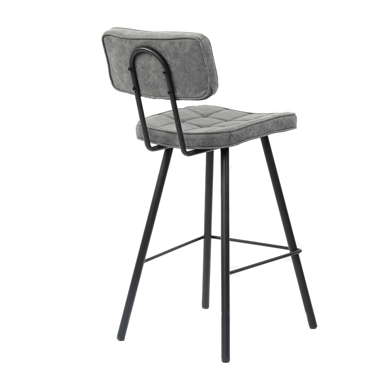 כסא בר מרופד בעיצוב מודרני לפינת האוכל בעל רגלי מתכת בצבעים לבחירה  - תמונה 2