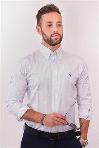 חולצה מכופתרת לבנה פסים דקים לוגו כחול POLO RALPH LAUREN