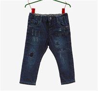 """מכנסי ג'ינס משופשפים OVS לילדים בצבע כחול כהה עם עיטור""""תפרים"""""""