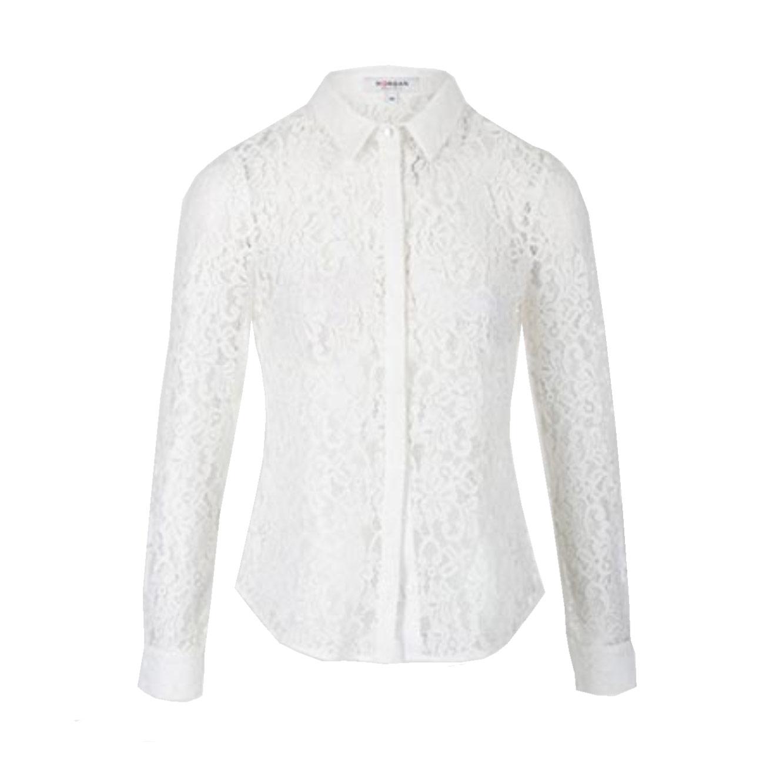 חולצת תחרה פרחונית מכופתרת לנשים MORGAN - לבן