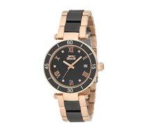 שעון קרמי לאישה SLAZENGER בצבעי שחור וזהוב
