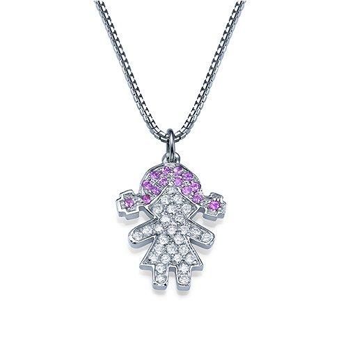שרשרת יהלום וזהב עם תליון יהלומים בדמות ילדה