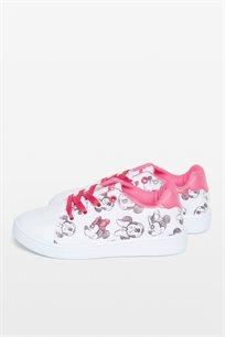נעלי סניקרס OVS עם הדפס מיני מאוס לילדות - לבן וורוד