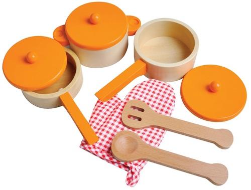 סט כלי בישול למטבח לילדים מעץ 9 חלקים -כתום