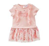 שמלה עם חצאית פרחונית ושרוולים קצרים לילדות בצבע ורוד