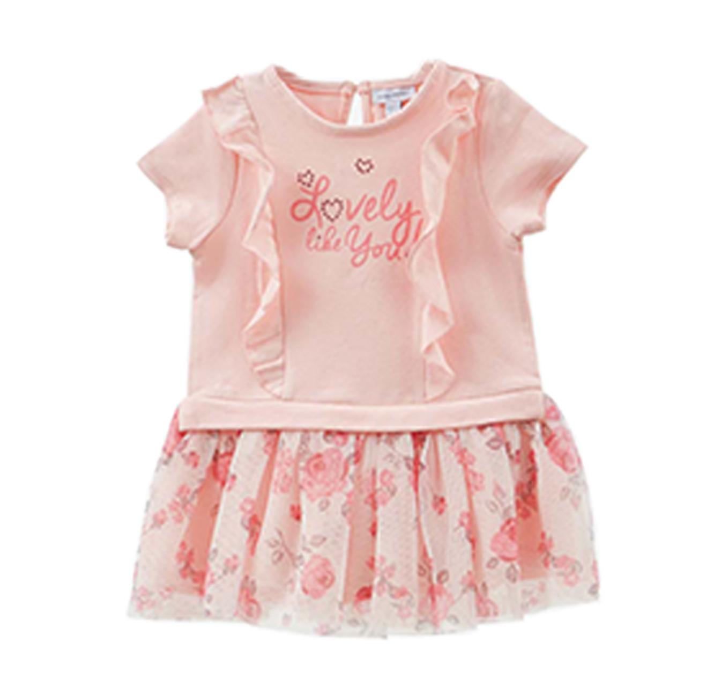 שמלה עם חצאית OVS פרחונית ושרוולים קצרים לילדות - ורוד