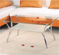 שולחן סלוני בשילוב זכוכית חלבית ושקופה בקווי עיצוב נקיים דגם CAMPANA  - משלוח חינם