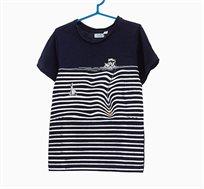 חולצת טי שרט OVS פסים לילדים - שחור