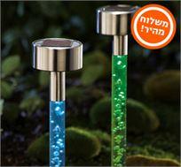 סט רביעייה של תאורת לד סולארית עם אפקט בועות פנימי וייחודי למראה אלגנטי למרפסת ולגינה!