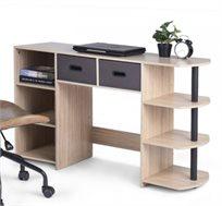 שולחן עשוי עץ לעבודה או ללימודים בעל מדפים ומגירות לאחסון דגם פאנט HOMAX