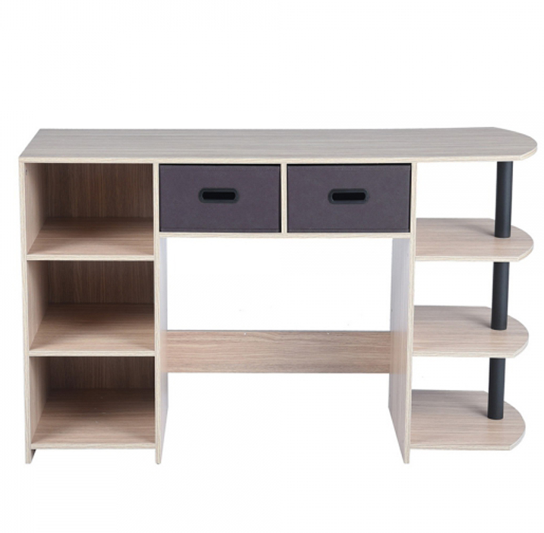 שולחן עשוי עץ לעבודה או ללימודים בעל מדפים ומגירות לאחסון דגם פאנט HOMAX - תמונה 2