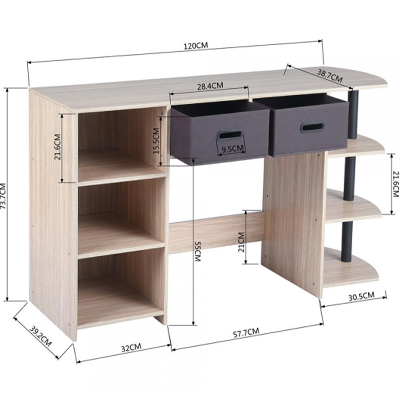 שולחן עשוי עץ לעבודה או ללימודים בעל מדפים ומגירות לאחסון דגם פאנט HOMAX - תמונה 5