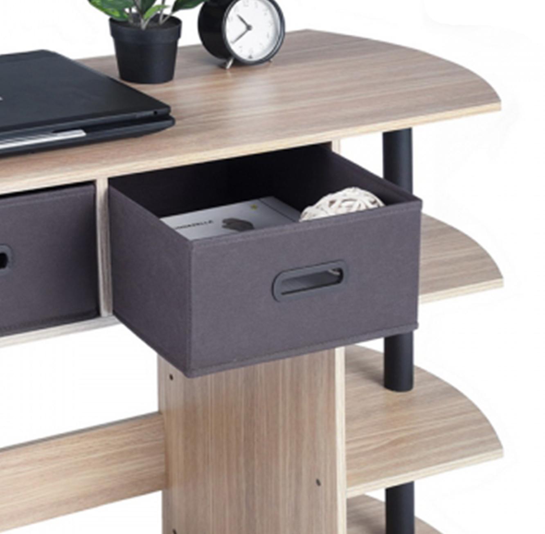 שולחן עשוי עץ לעבודה או ללימודים בעל מדפים ומגירות לאחסון דגם פאנט HOMAX - תמונה 4