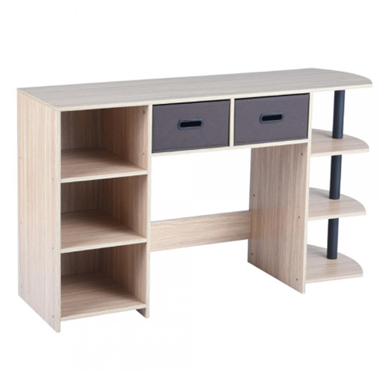 שולחן עשוי עץ לעבודה או ללימודים בעל מדפים ומגירות לאחסון דגם פאנט HOMAX - תמונה 3