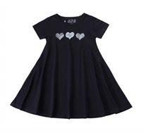שמלה מסתובבת 3 לבבות בצבע שחור