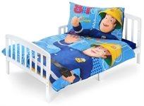 סט מצעים 3 חלקים 100% כותנה למיטת תינוק/מעבר סמי הכבאי כחול