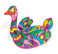 ברבור מתנפח בעיצוב צבעוני בעל ידיות לאחיזה נוחה לים או לבריכה BESTWAY