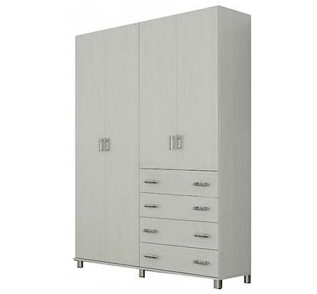 ארון תליה 4 דלתות מידוף ומגירות דגם LIAM במגוון צבעים לבחירה
