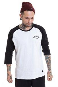 חולצת בייזבול עם שרוול 3/4 SUPPLY בצבעי שחור ולבן