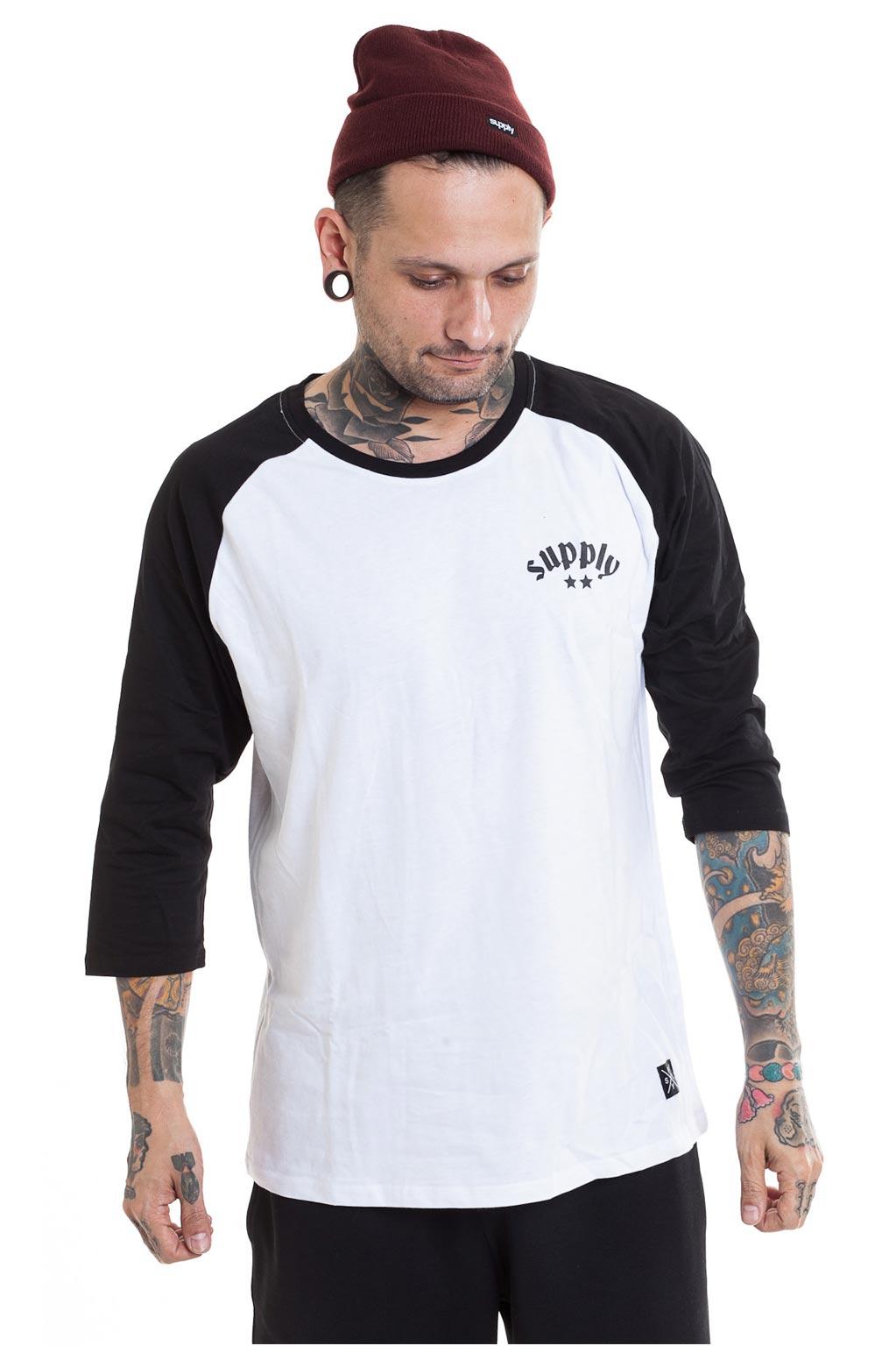 חולצת בייזבול SUPPLY - שחור ולבן