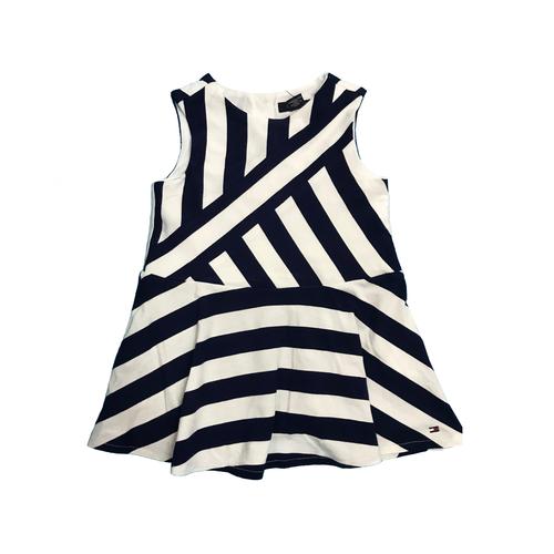 Tommy Hilfiger שמלה (3 חודשים- 4 שנים) לבן כחול פסים