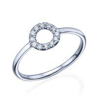 """טבעת יהלומים """"מעגל החיים"""" 0.15 קראט זהב לבן"""