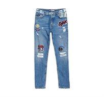 מכנס ג'ינס ארוך SUPERDRY Harper Boyfriend לנשים - כחול