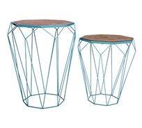 זוג שולחנות בעיצוב מודרני גאומטרי לסלון או למשרד עשויים מתכת עם משטח עליון מעץ U DESIGN