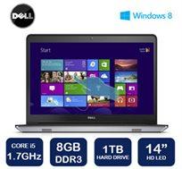 """נייד מבית Dell דגם i14-5447 בעל מסך מגע """"14 HD, מעבד i5, דיסק 1TB, זיכרון 8GB ו-WIN8.1"""