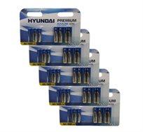 20 סוללות AA ו-20 סוללות AAA אולטרה אלקליין של חברת HYUNDAI עם תוחלת חיים ארוכה