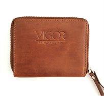 ארנק עור VIGOR קטן בסגירת רוכסן לגבר ולאישה - צבע לבחירה